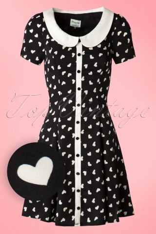 60s Abby Hearts Dress in Black and Ivory