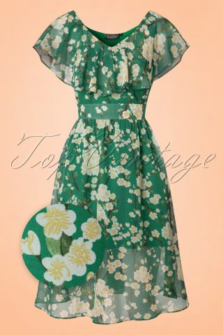 50s Agatha Floral Swing Dress in Green