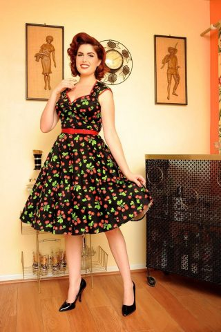 Heidi Black Cherry Swing dress