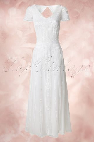 20s Phoebe Embellished Maxi Dress in White