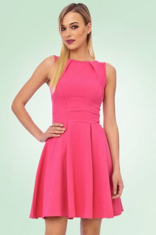 60s Katty Skater Dress in Hot Pink