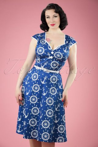 50s Isabella Nautical Swing Dress in Blue