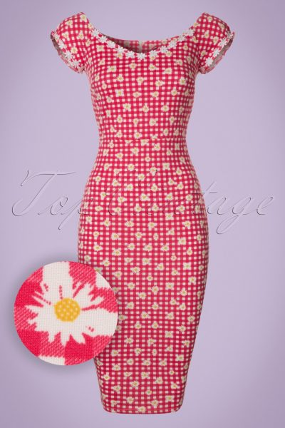 50s Rachel Checked Pencil Dress in Red and White
