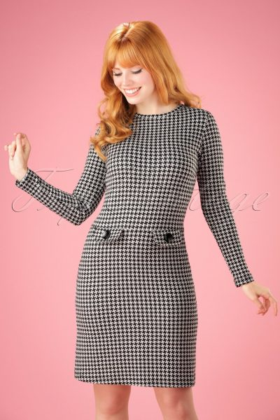 60s Helen A-Line Dress in Houndstooth