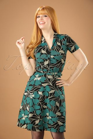 60s Emmy Shamrock Dress in Black and Cream