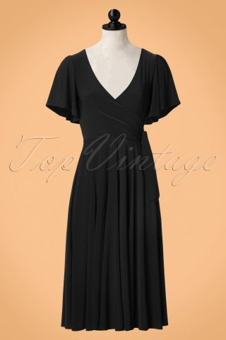 40s Lara Cross Over Swing Dress in Black