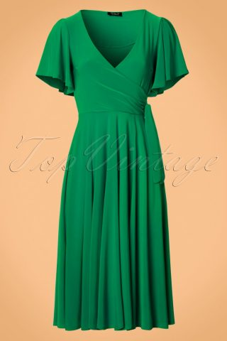40s Lara Cross Over Swing Dress in Emerald