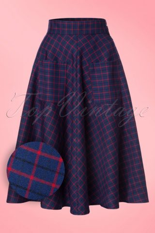 50s Weekend Check Swing Skirt in Blue and Red