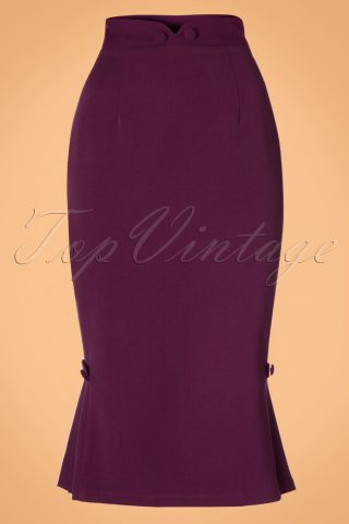 40s Violetta Pencil Skirt in Purple