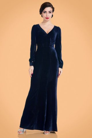 30s Nicki Velvet Maxi Dress in Navy
