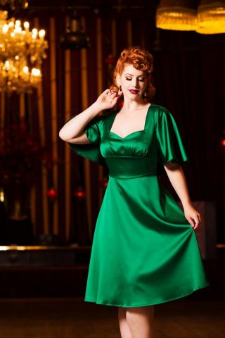 30s Mariah Cape Dress in Emerald