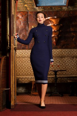 50s Blake Knitted Pencil Dress in Navy