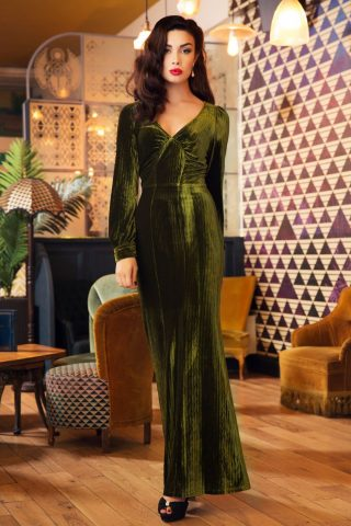 30s Olivia Velvet Maxi Dress in Olive Green