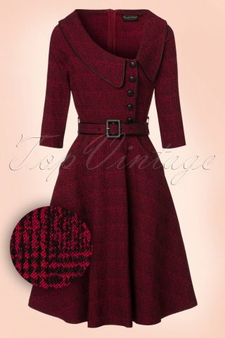 40s Lilly Swing Dress in Wine Red