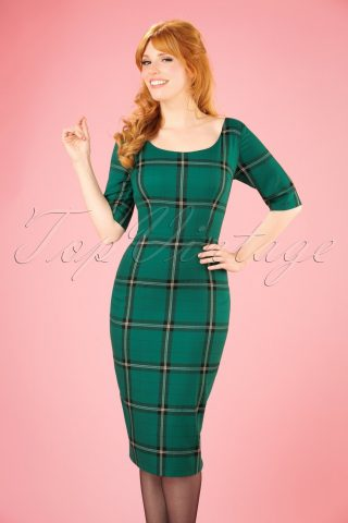 50s Amber Evergreen Check Pencil Dress in Green