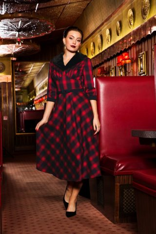 40s Bettie Plaid Swing Dress in Red