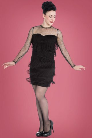 20s Gin Rickey Fringe Flapper Dress in Black