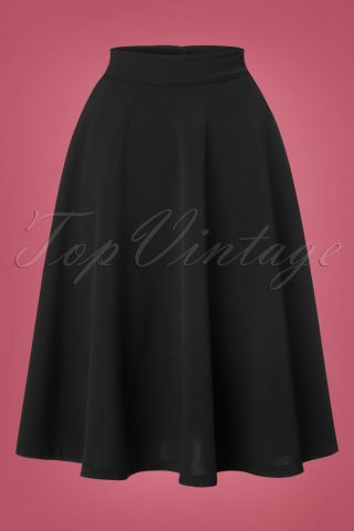 50s Beverly High Waist Swing Skirt in Black