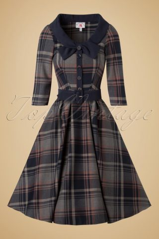40s Genevieve Lee Tartan Swing Dress in Navy