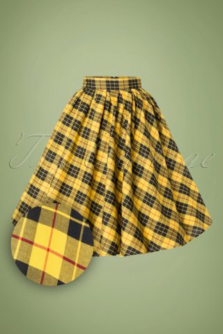 40s Madison Swing Skirt in Yellow Tartan