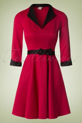 50s American Dreamer Collar Dress in Red