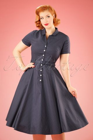 40s Caterina Mini Polkadot Swing Dress in Navy