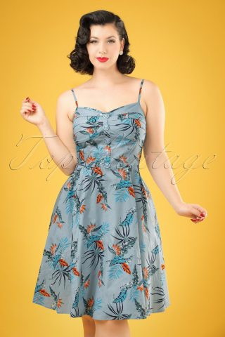 50s Fairy Bird of Paradise Doll Dress in Light Blue