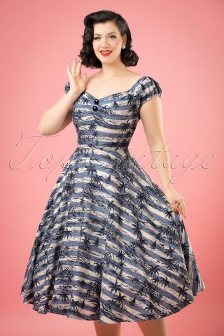 50s Dolores Mahiki Doll Dress in Blue