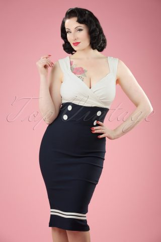50s Diva Set Sail Pencil Dress in Navy and White