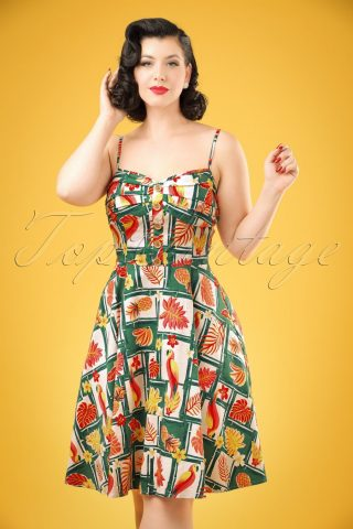 50s Fairy Tropical Bamboo Doll Dress in Multi