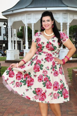 50s Ursula Roses Swing Dress in Cream and Pink