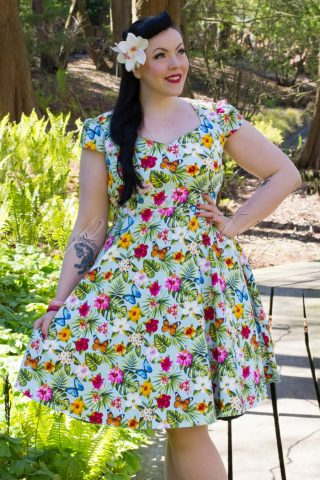 50s Evie Summer Floral Swing Dress in Light Blue