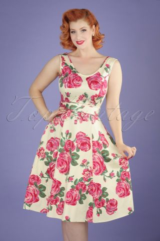50s Charlotte Pink Rose Dress in Cream