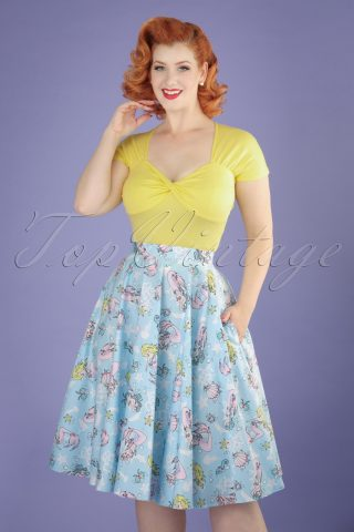 50s Andrina Mermaid Swing Skirt in Pastel Blue