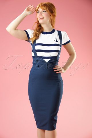 50s Agarva Braces High Waist Pencil Skirt in Navy