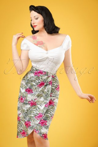 50s Kala Tropical Hibiscus Sarong Skirt in Ivory