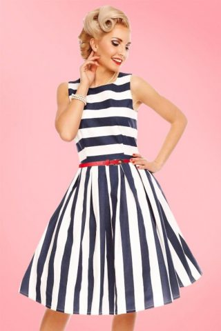 50s Annie Stripes Swing Dress in Navy and White