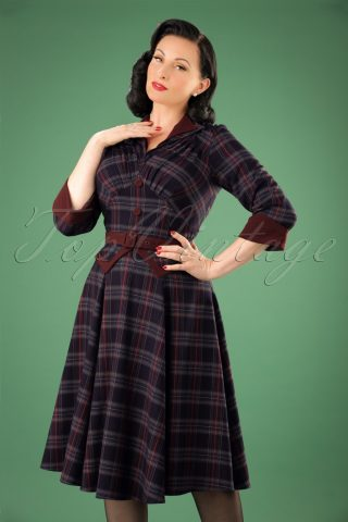 50s Brianna Tartan Swing Dress in Navy and Wine