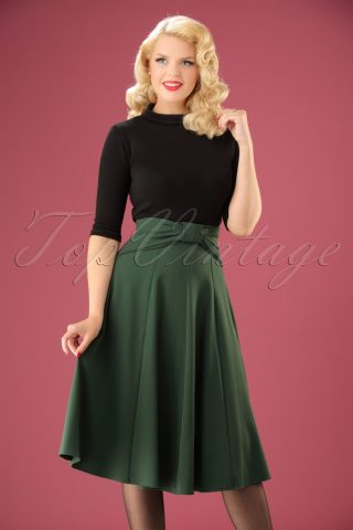 40s Victoria Swing Skirt in Green