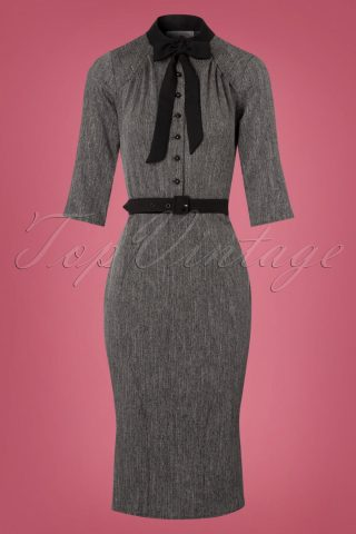 40s Gina Pencil Dress in Grey