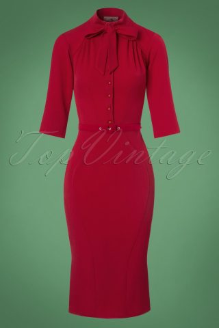 40s Gina Pencil Dress in Red