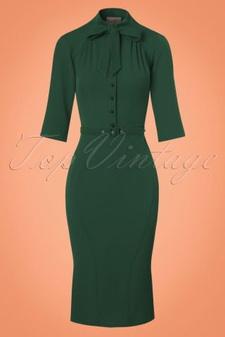 40s Gina Pencil Dress in Green