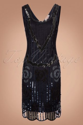 20s Audrey Flapper Dress in Black and Navy