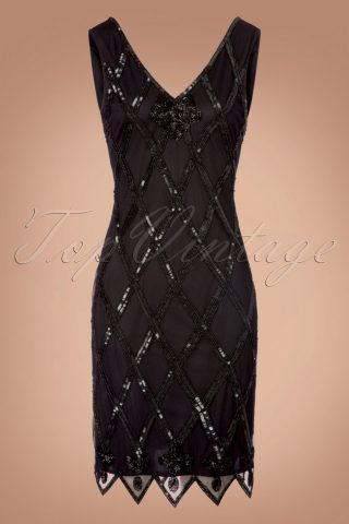 20s Liz Flapper Dress in Black