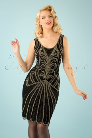 20s Francesca Flapper Dress in Black and Gold