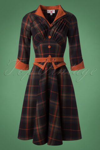 50s Brianna Tartan Swing Dress in Navy and Rust