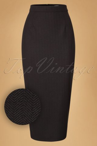 40s Miranda Herringbone Midi Skirt in Black
