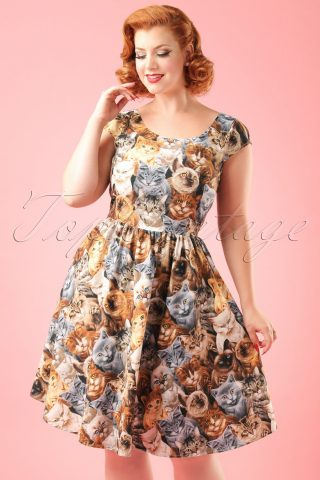 50s Purrfect Cute Kitty Cat Dress