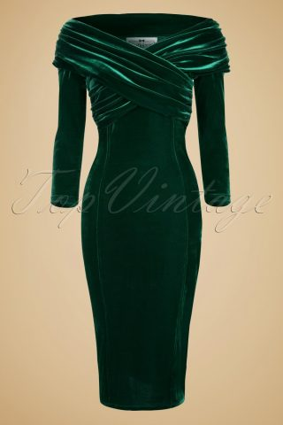 50s Hollie Velvet Wiggle Dress in Green