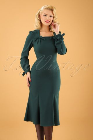 40s Micelena Bows Dress in Forest Green
